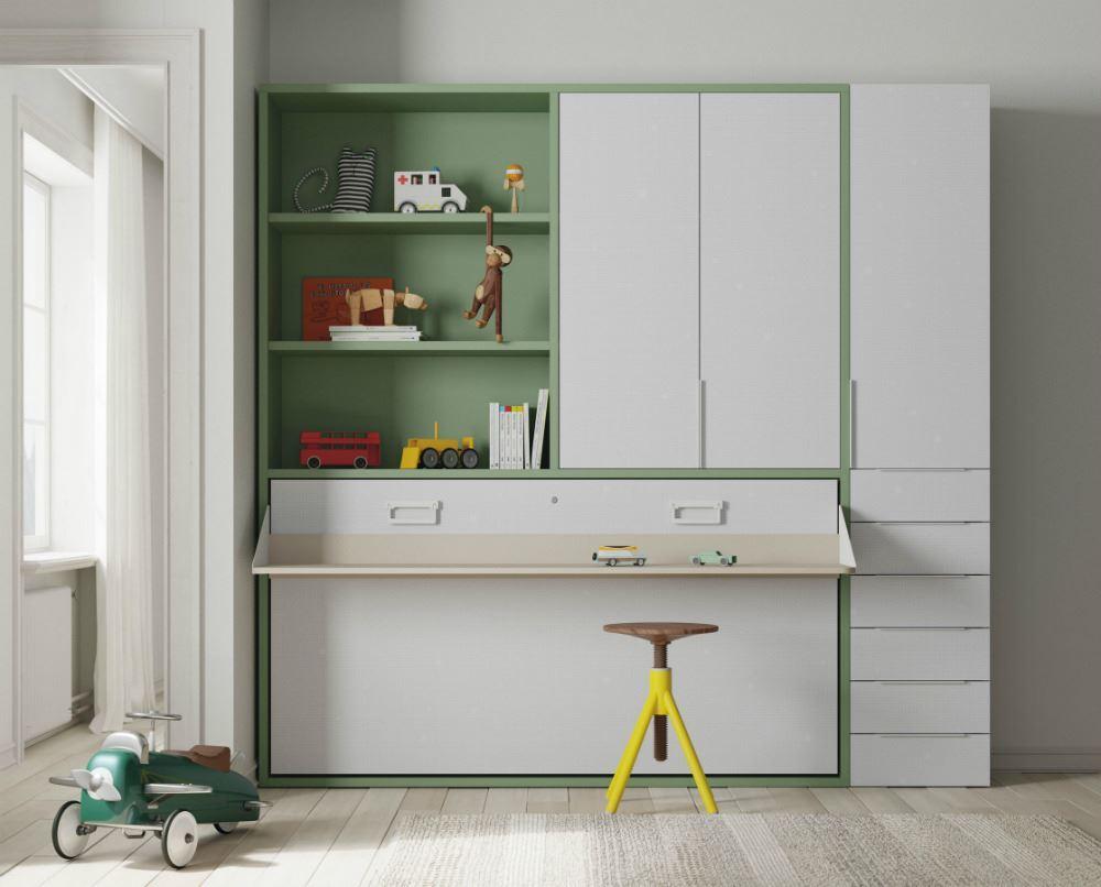 Cama abatible horizontal con escritorio, altillo y armario.