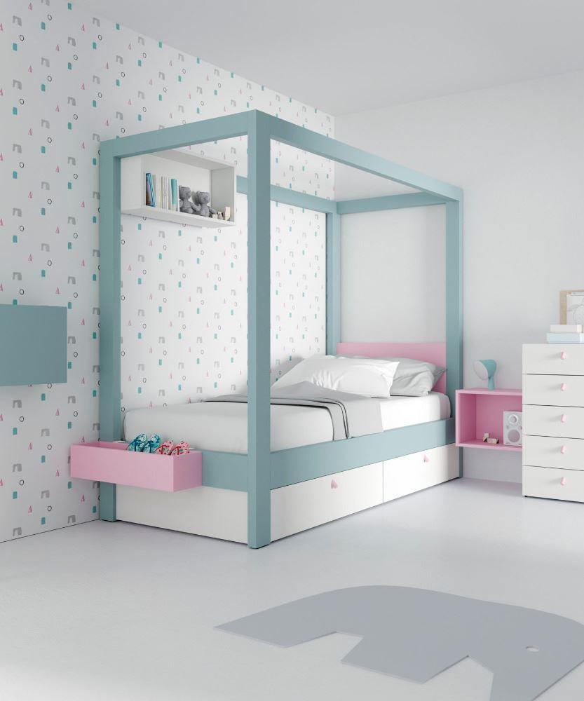 Dormitorio Juvenil con dosel Canopy con cajones.