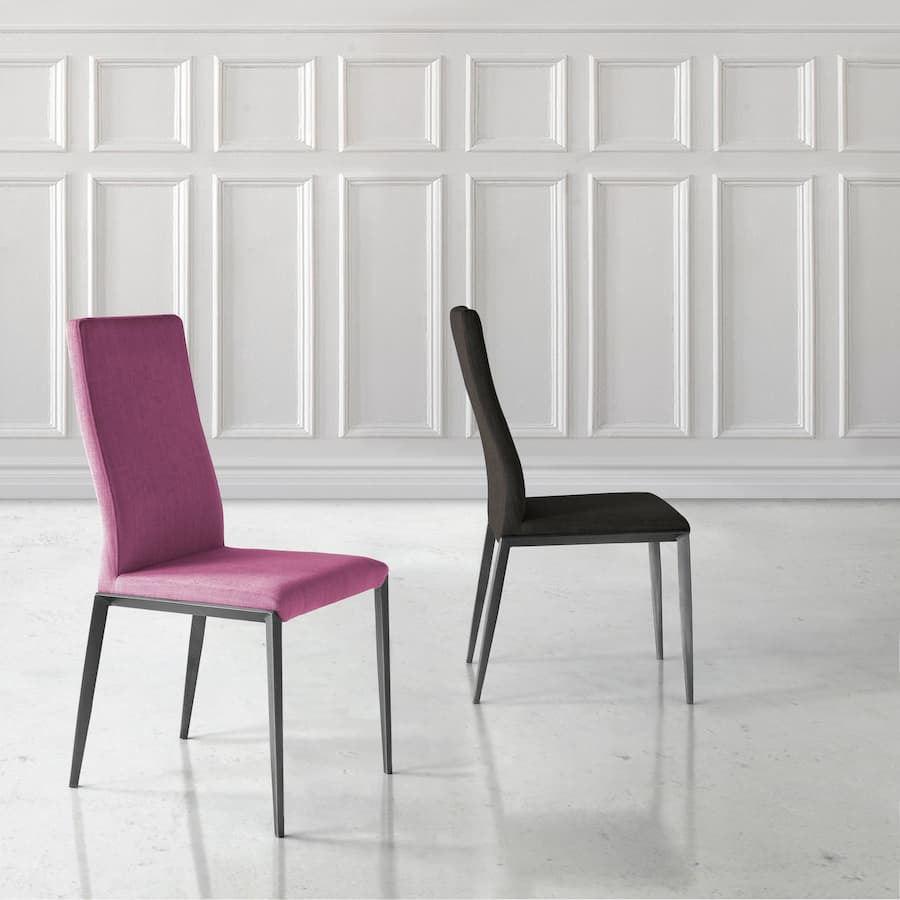 Silla alex con estructura cromada o lacada y tapizados a elegir.