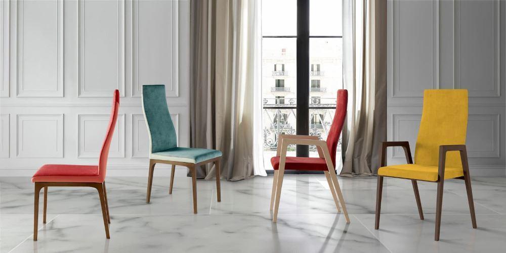 Silla IGNI WOOD A con estructura en madera de haya. A la pureza de estilo le añadimos la solidez de la madera y el resultado es esta silla atemporal. Silla tapizada según catalogo de acabados. Patas madera de haya o lacadas según muestra.